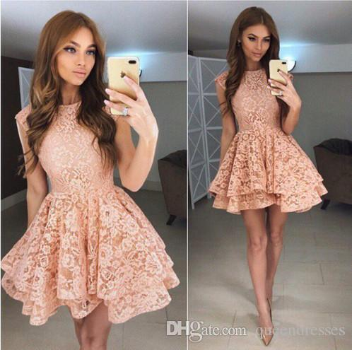 Simple Coral Cocktail Dresses Lace Jewel A line Long Sleeve Mini Evening Gowns Formal Women Special Occasion Homecoming Party Dresseses