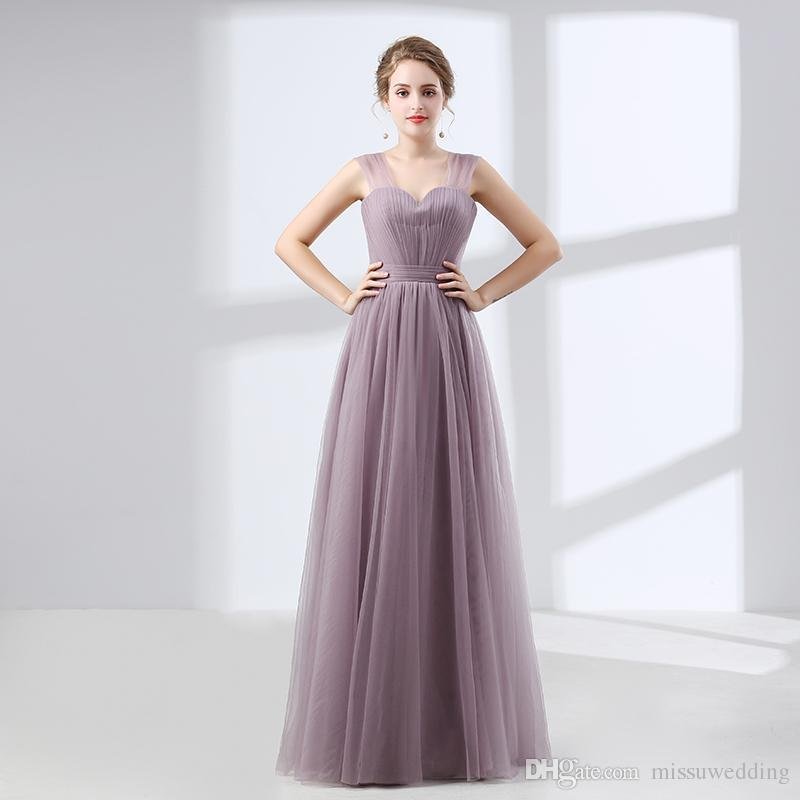 A Line Lilac Prom Dresses Simple Style Spaghetti Straps Tulle Girls ...