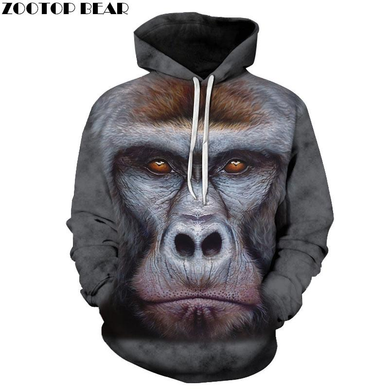 Men's Clothing Monkey Printed Women Hoodies 3d Hoodies Sweatshirts Fashion Animal Tracksuit Casual Jacket Long Sleeve Pullover Zootop Bear 100% High Quality Materials