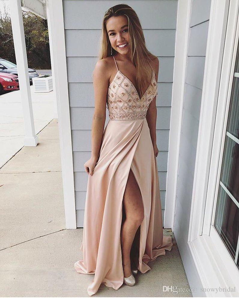 Champagne V Neck Long 2018 Prom Dresses With Spaghetti Straps Beaded Split Sexy Teens -6224