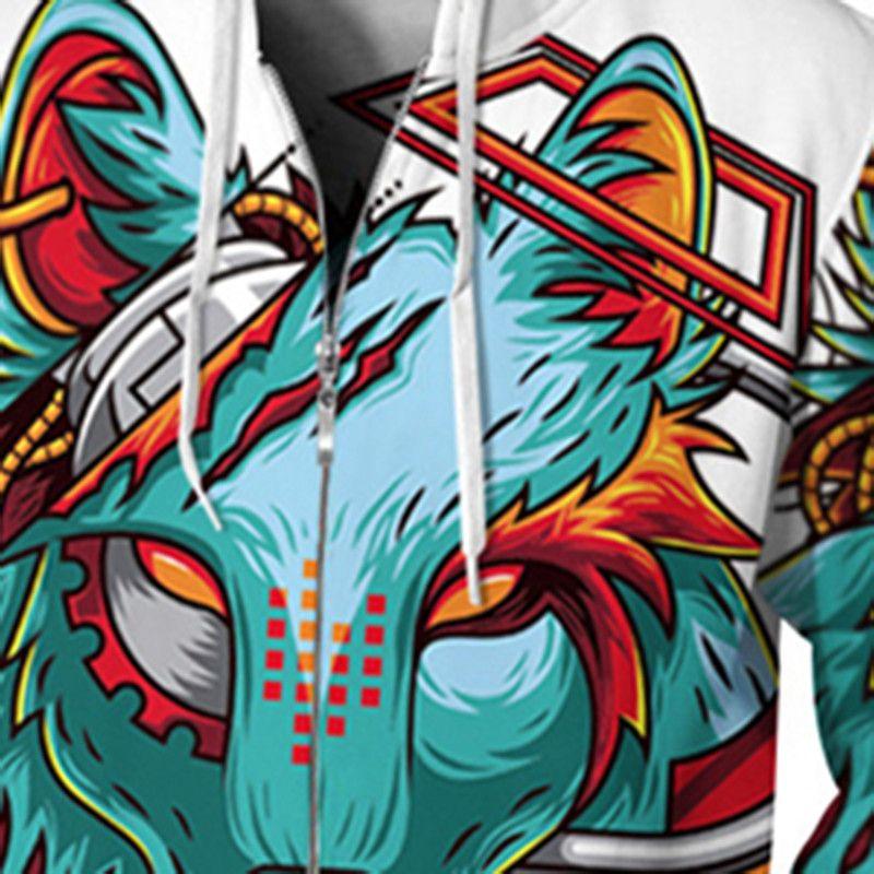 Zipper Wolf 3D Hooded Sweatshirt Men Casual Plus Size Hoodie Tracksuit Fighting Wolf Sweatshirt Male Hip Hop Tracksuits Pullover