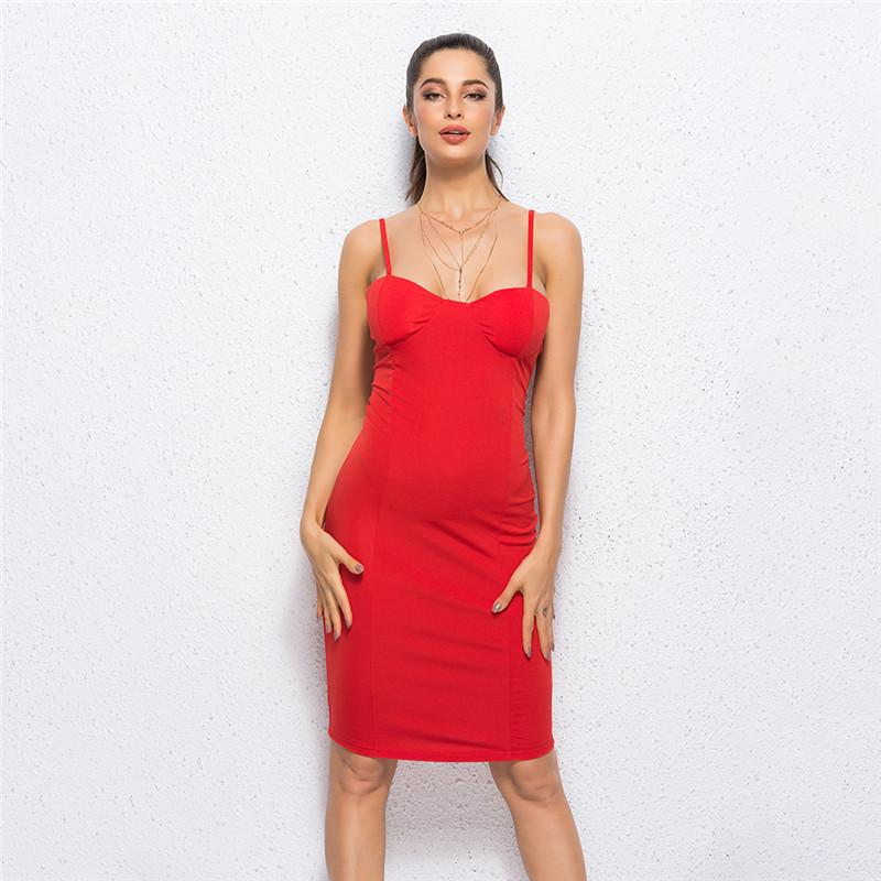 dabad5253d514 Sleeveless Spaghetti Strap Red Women Dress New Summer Sheath Bodycon New Knee  Length Hem High Waist Weekend Party Dress Purple Dresses For Juniors Party  ...