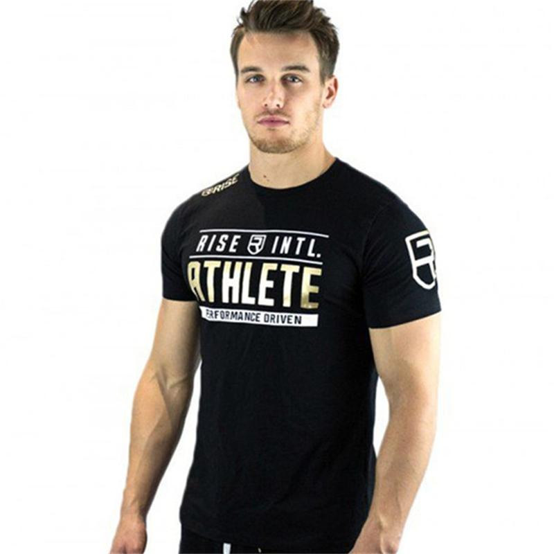 4430f0bf Mens Cotton T Shirt Summer Gyms Fitness Workout Shirts Male Fashion Casual  O Neck Black Slim Fit Short Sleeved Tees Tops Clothes Ladies T Shirts Shirts  ...