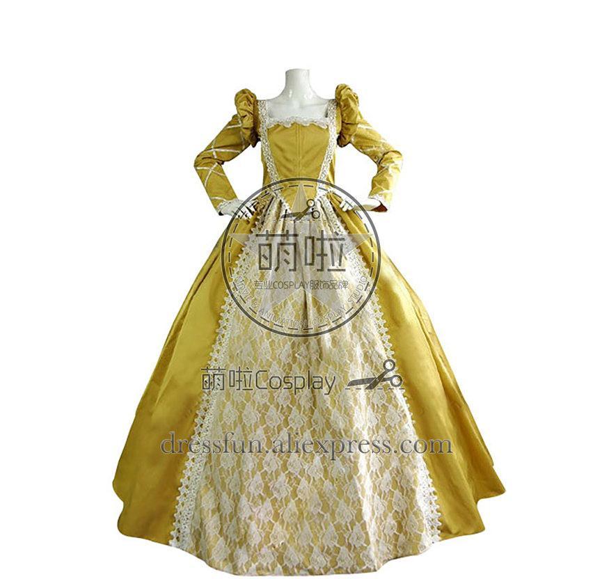 Envío Manga Queen Elizabeth Qulity Tudor High Amarillo Larga Clásico Rápido Vestido Victorian Lolita Período Gothic 1JculF3T5K