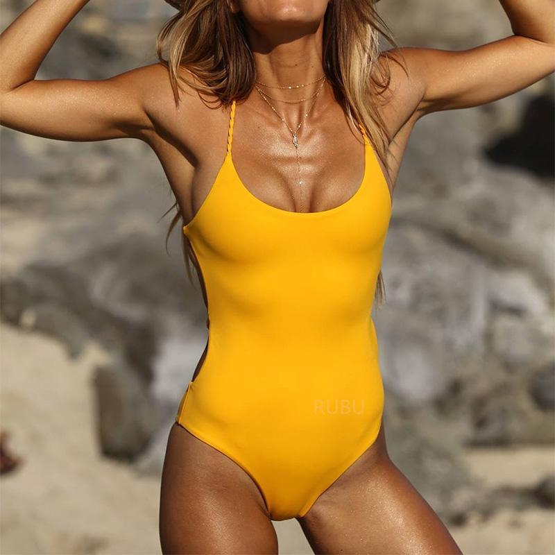 58fea3c8cd 2019 BOKONI 2017 Sexy One Piece Swimsuit Women Swimwear Solid Yellow Cross  Bandage Backless Bodysuit Bathing Suit Beach Wear From Burtom
