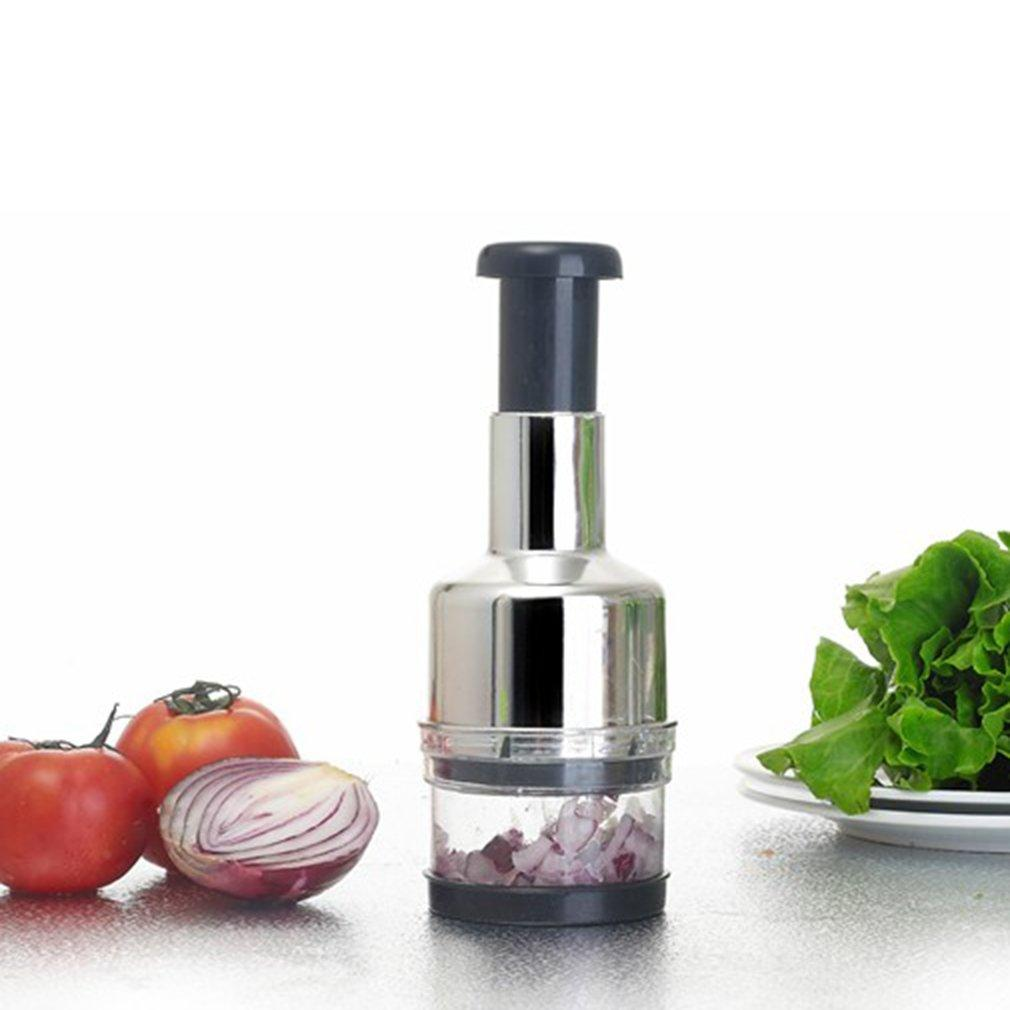 Al presionar la cocina de verduras de acero inoxidable Ajo Cortador de cebolla Cortador Picador Rallador Herramienta de cocina Ayudante