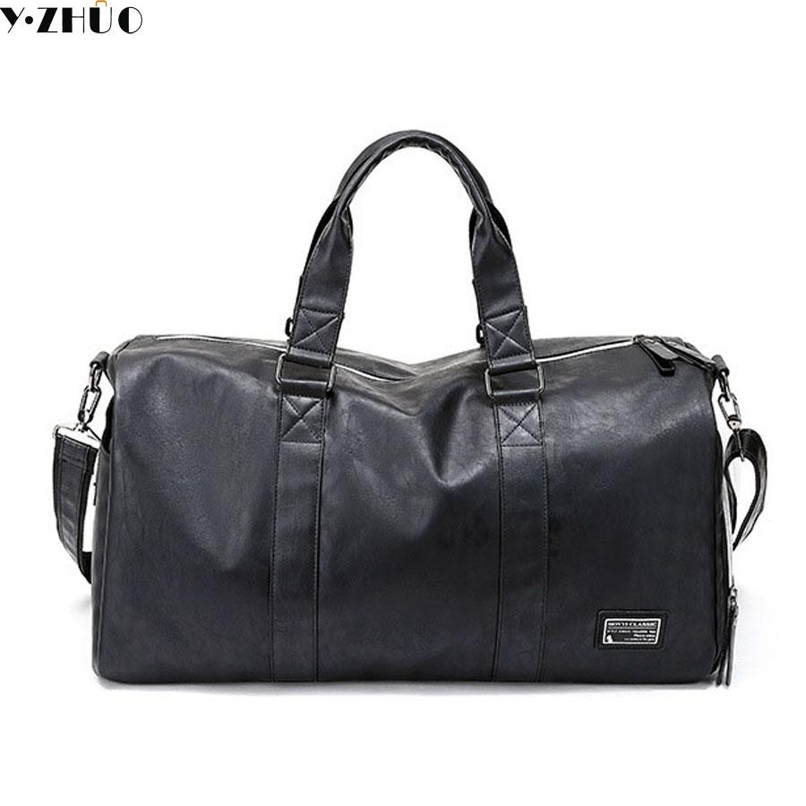 d1833208a 2018 Hot Sale Good Quality Leather Big Travel Duffle Bags Business Handbags  Tote Top Handle Work Bag Independent Shoes Male Bags Travel Bags For Men ...