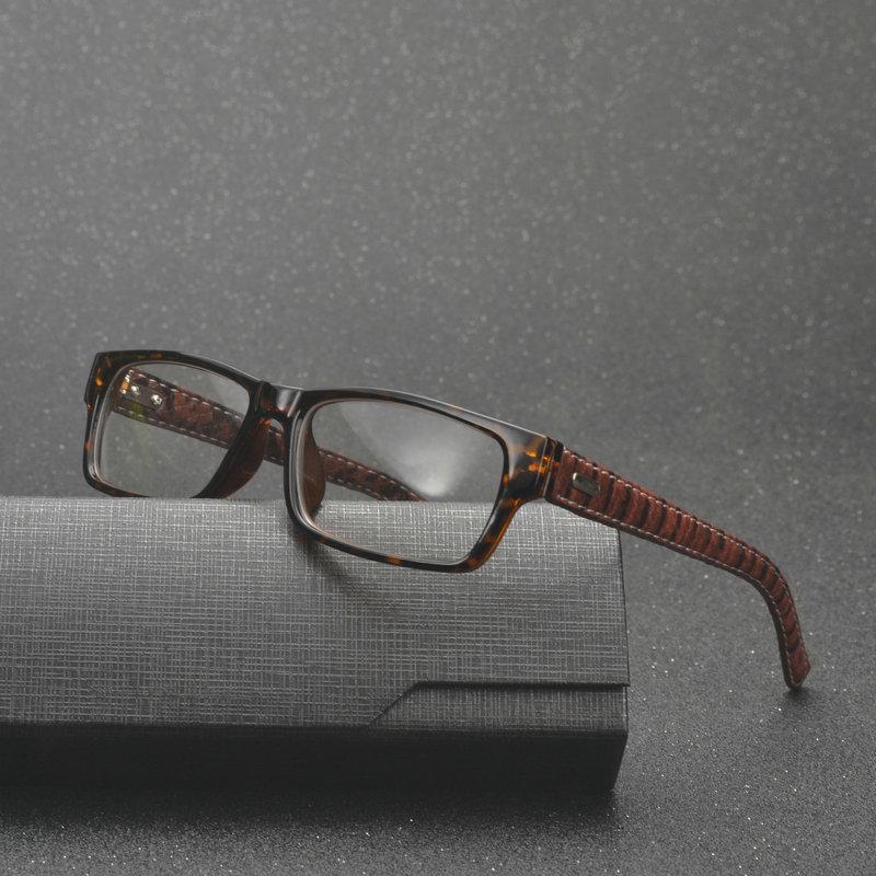 d626b118e4 MINCL  Square Frame Glasses Vintage Black Leather Eyeglasses Frame ...