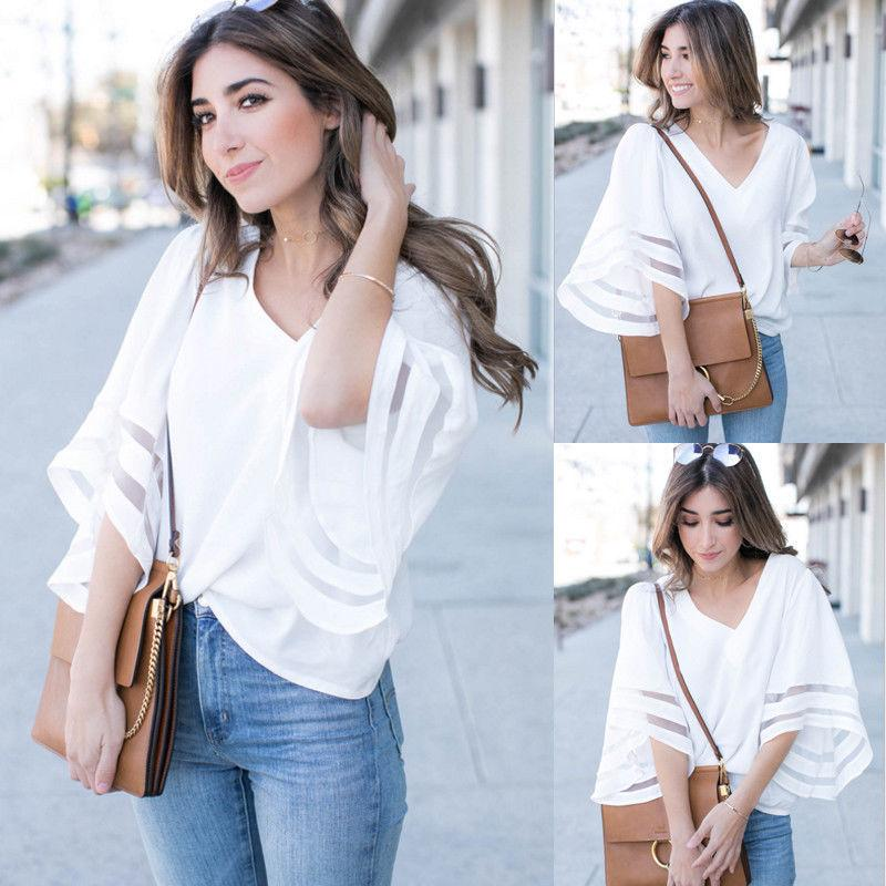 2019 Newly Summer Casual Women Ladies T Shirts Tops Half Flare Sleeve V Neck  White Pullover Tops Size S M L XL Slogan T Shirts Vintage T Shirt From ... f8f6297339
