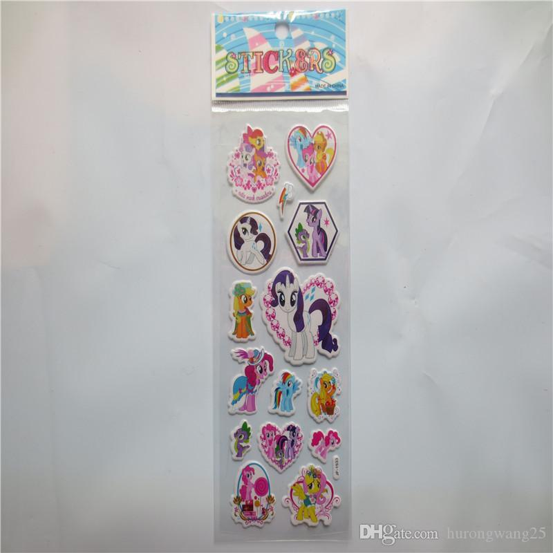 Cartoon Rainbow Horse Bubble Stickers Classic Toys 3D Fashion Kids School Reward Sticker Decoration Christmas Gift