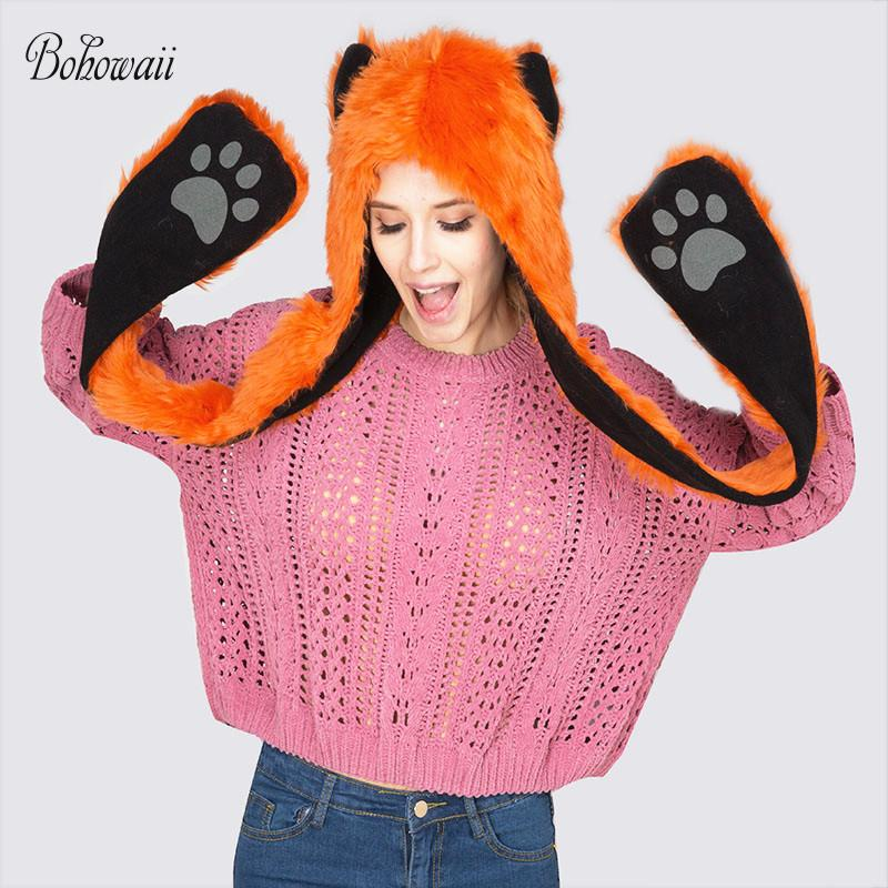 Acquista BOHOWAII Funny Animal Faux Fur Hat Adult Con Paws Gloves ... 8a5b633ef527