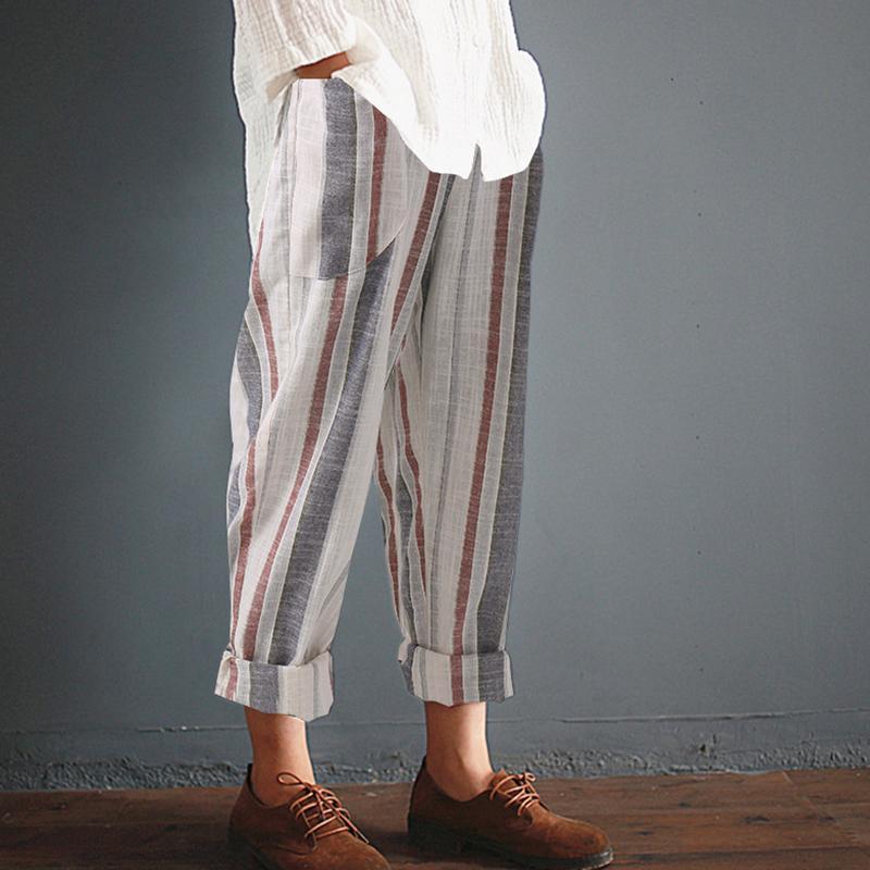S-5XL Mulheres Verão Tarja De Cintura Alta Harem Pants Plus Size Algodão Femme Retro Casual Solto Baggy Calças Compridas Casual Calças Finas
