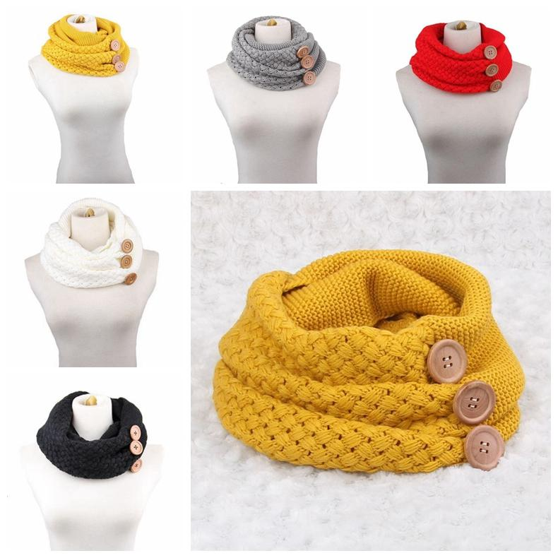 d925b6130 Winter Warm Knit Infinity Scarf Luxury Women Solid Color Crochet Pattern  Basic Chunky Big Button Knit Snood Ring Scarf MMA458 Pashmina Scarf From ...