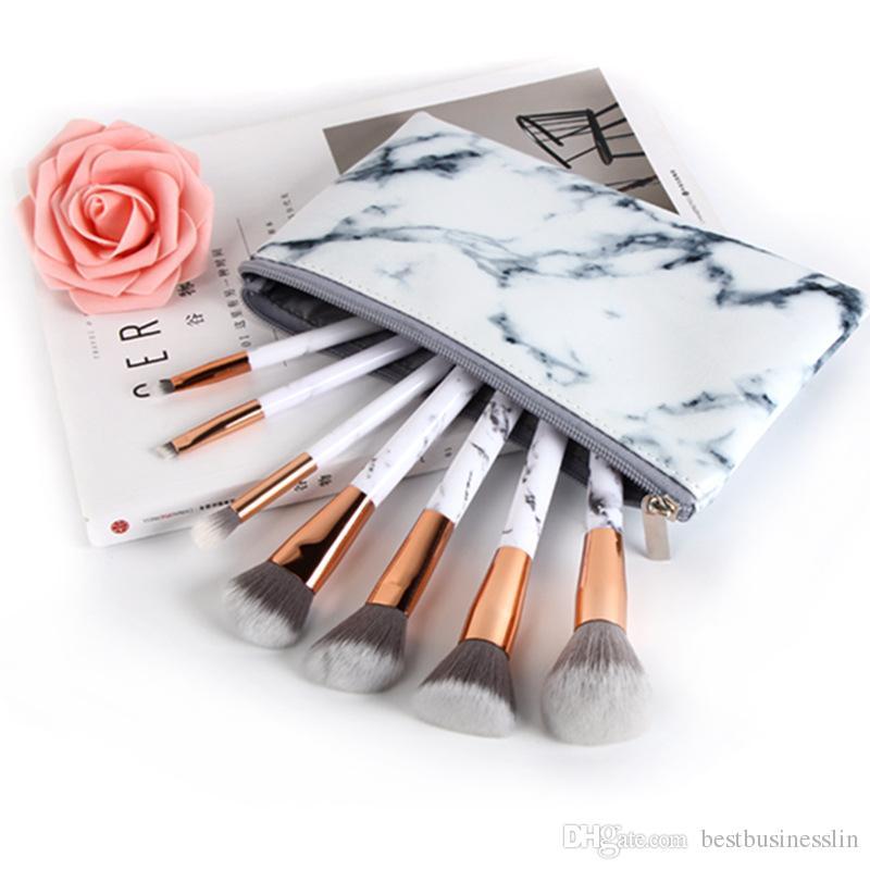 7 Unids / set pinceles de maquillaje sets cosméticos pincel patrón de mármol maquillaje cepillo herramientas de tornillo kits de pinceles de maquillaje con bolsa cubo