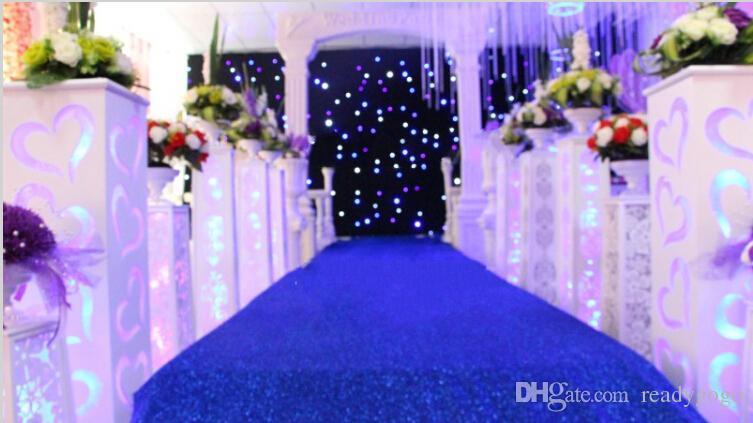1.2 m Genişliğinde X 10 m / rulo Parlak Altın sequins Sedefli Düğün Halı Moda Koridor Runner T istasyonu Halı Için Parti Dekorasyon Malzemeleri
