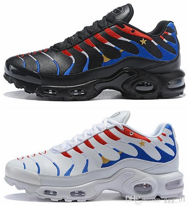 separation shoes f144e 86e05 ... Arrivée Drapeau De France 1 Étoile Chaussures De Course Pour Homme Max  TN Chaussures De Sport En Cuir Imperméable Air Unique Amant Tn Sneaker  Taille EUR ...