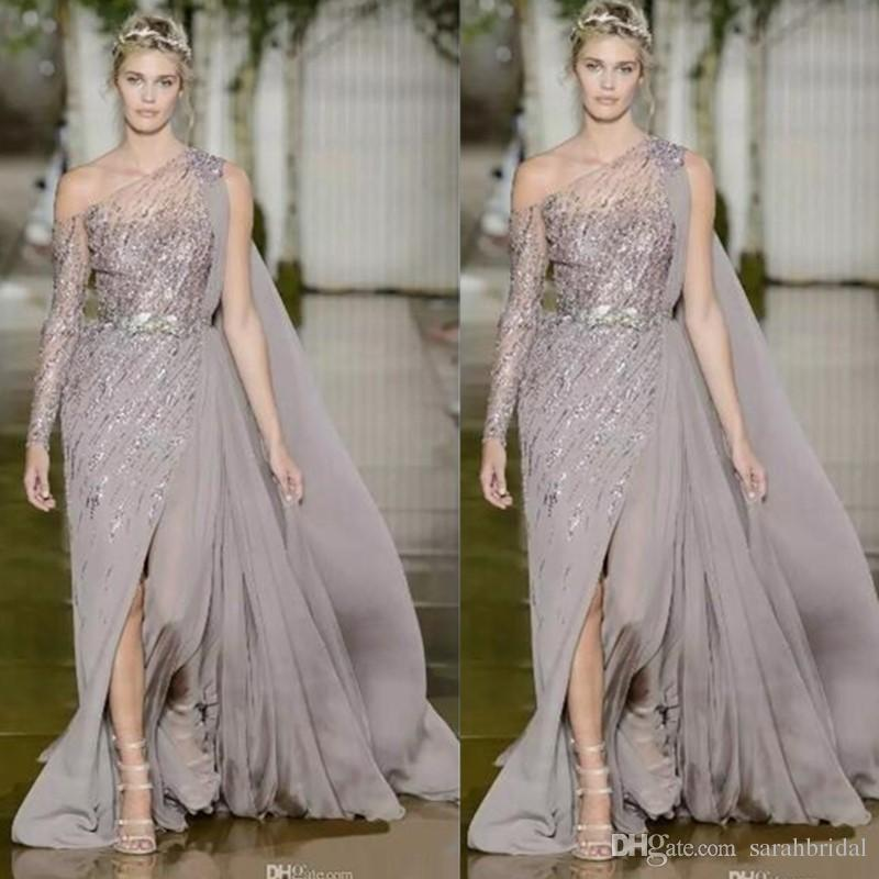 09e8c3634dc 2018 High Split Side Formal Evening Dresses With Long Sleeve One Shoulder  Sequined Evening Gowns Sweep Train Chiffon Prom Dress Zuhair Murad Pink Prom  ...