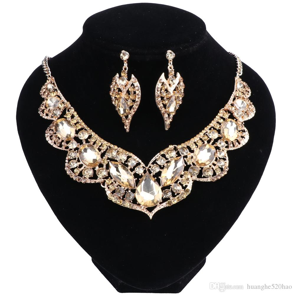 Gold Color Crystal Dubai Bridal Jewelry Set For Brides Necklace Earring Wedding Party Accessories For Women