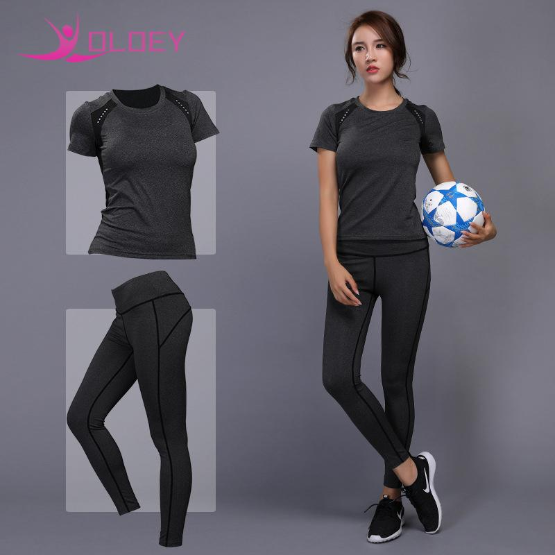 c705648e35b 2019 OLOEY Women Yoga Set Fitness Running Tennis Shirt+Pants Breathable Gym  Workout Clothes Compressed Yoga Leggings Sport Suit From Bdsports