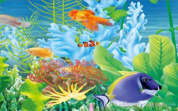 Cartoon Seabed Fish Seaweed Wall Mural Custom Kids Wallpaper For Walls Children's Bedroom Wall Paper Home Decoration TV Backdrop