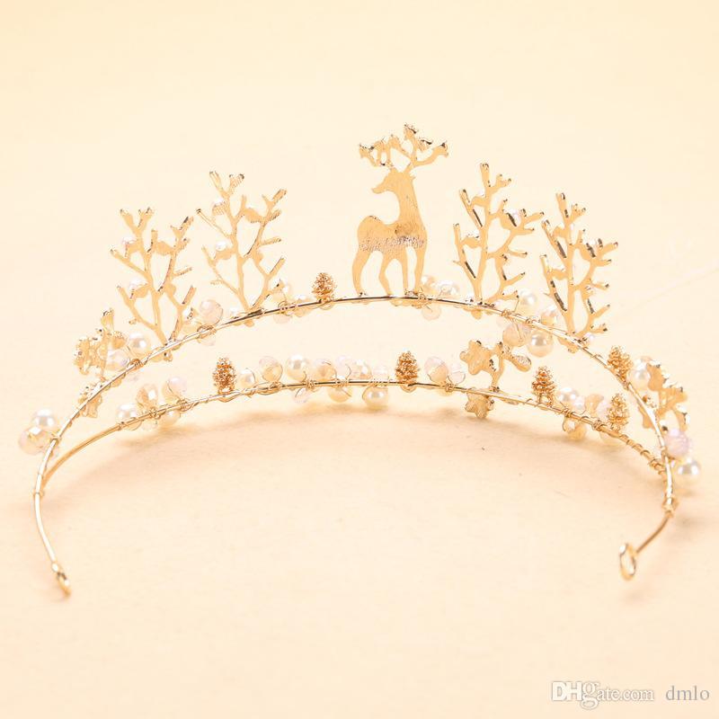 Queen Princess Wedding Crown Pearl Bridal Tiaras Headband Crystal Rhinestone Tiara Crowns Hair Band Jewelry Gold Bridal Hair Accessories