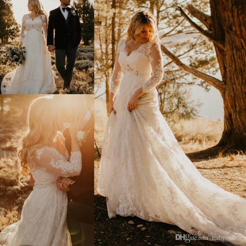 0f71e5f81fd3d Discount 2018 New Full Lace A Line Wedding Dresses Vintage Long Sleeves V  Neck Appliques Garden Bridal Gowns Plus Size Plus Size A Line Wedding  Dresses ...