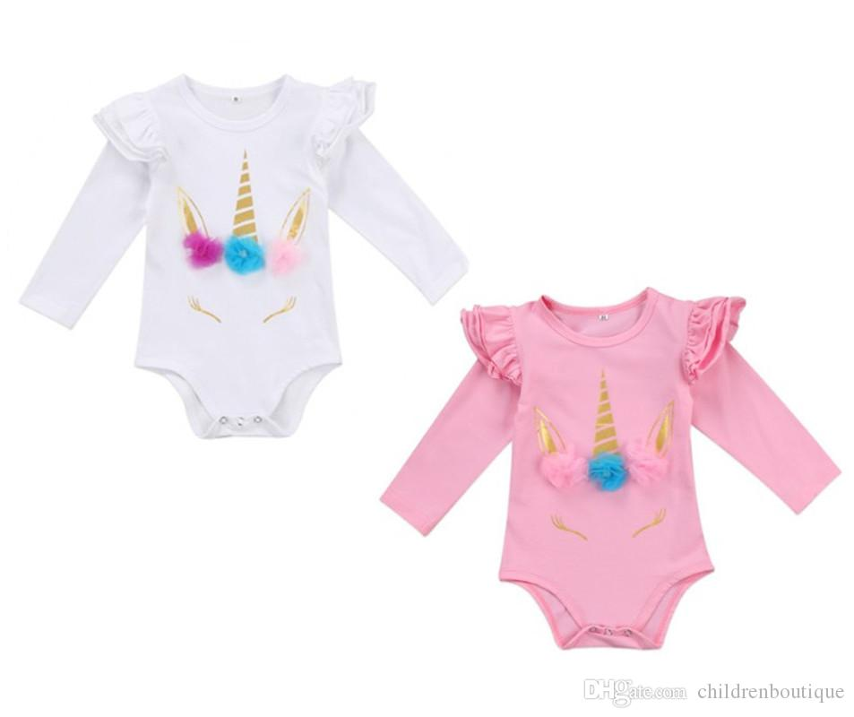 557dfd38e7b 2019 Lovely Newborn Infant Romper Kids Baby Girl Unicorn Romper Clothes  Long Sleeve Ruffles Jumpsuits Clothes 2018 New Cute Body Suit From  Childrenboutique