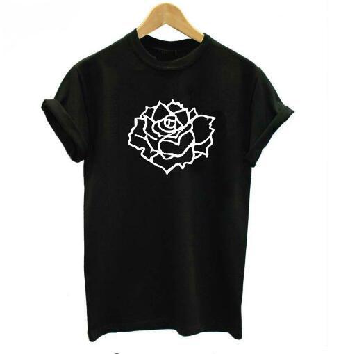 Rose Causale T Dames Love stukken hals T shirt Bloemenprint O MVpSqzGLU