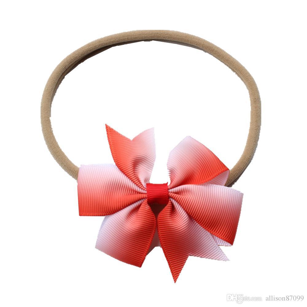 Hotsale a buon mercato Hairbows Nylon Fascia treccia sfumata Archi dei capelli le vacanze Beach 2018 Neonata Accessori capelli dolci elastico All'ingrosso