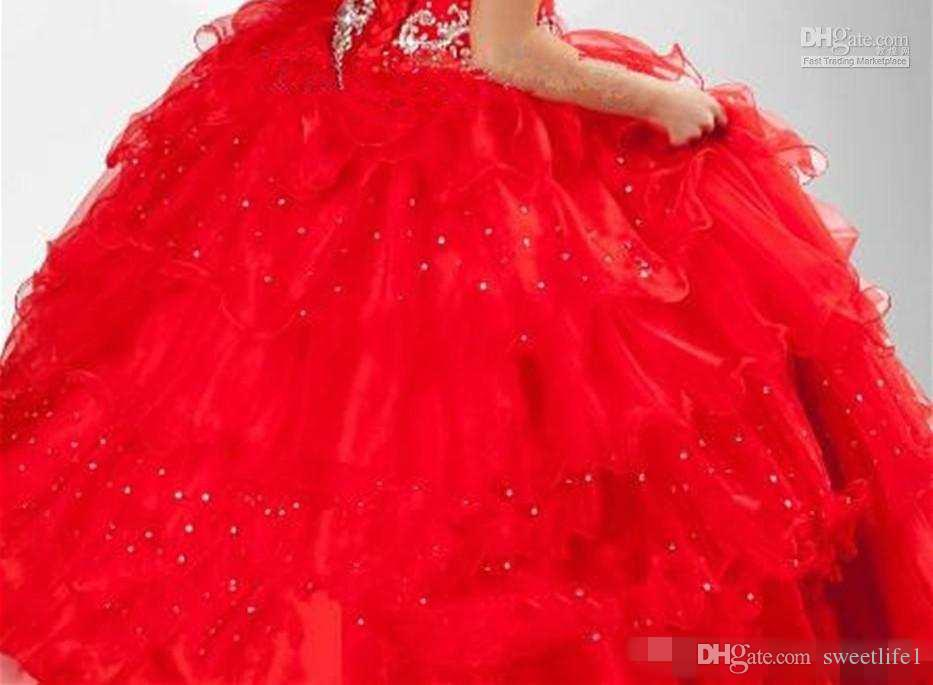 Cute Red Multi Layered Little Girl Party Ball Gowns Halter Beaded Pageant Dresses halloween costumes Kids Formal Wear