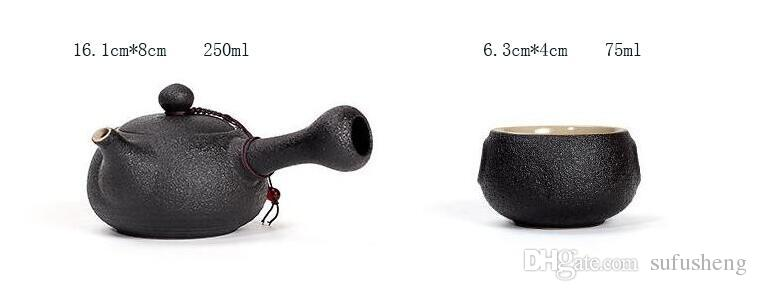 new style super quality black porcelain elegant Chinese Kung Fu tea set one pot and two cups T192
