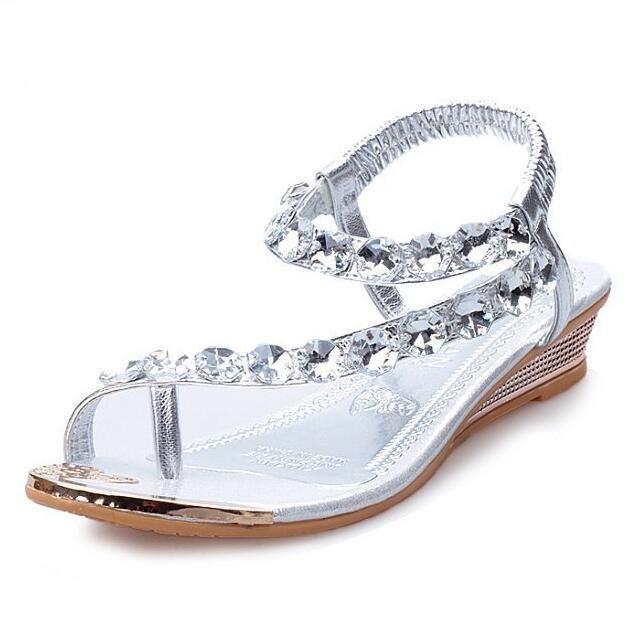 120251c3b9a6a3 Women Summer Sandals Bling Beading Plaftorm Wedges Shoes Woman Golden  Silver Slid Slip On Roman Flip Flops 35 41 Platform Heels Black Sandals  From Wxp168