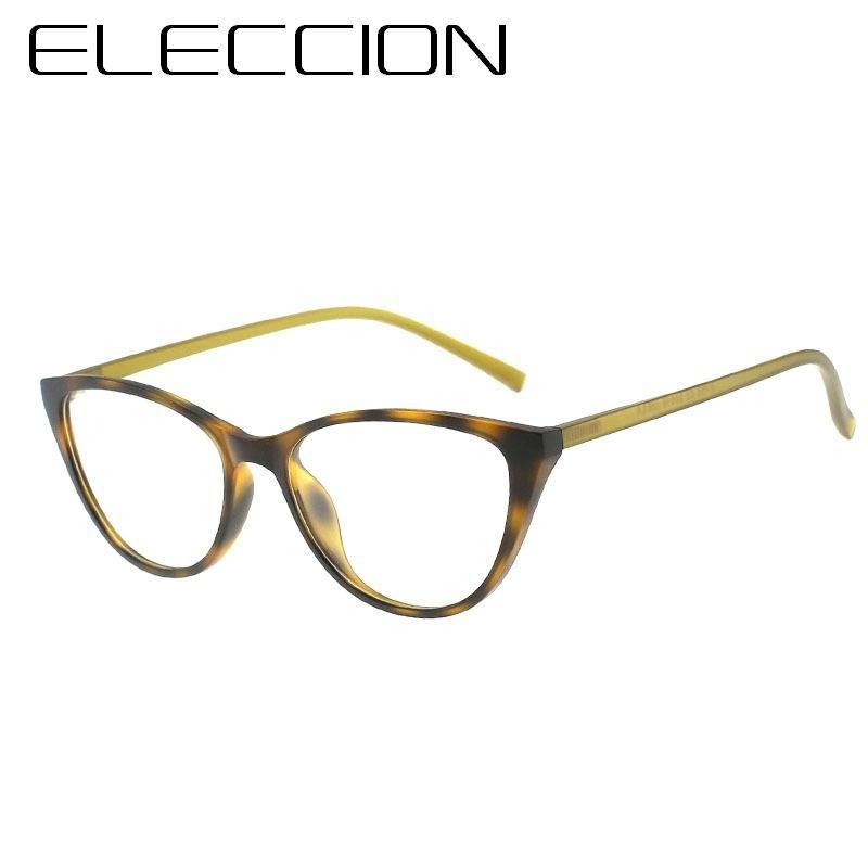 96a8bf3c1f3c0 Compre ELECCION Moda Estilo Olho De Gato Óculos De Armação Para Óculos De  Grau Quadro Das Mulheres Ultraleve TR90 Material De Armações De Espetáculo  De ...