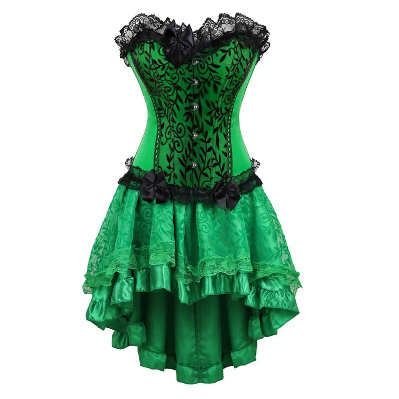 12f7cdd9c80 2019 Girls Green Corset Dress Plus Size Lingerie Cosplay Costume Sexy  Nightclub Exotic Lace Corset Bustiers With Skirt Set Short 6XL From  Zhaolinshe