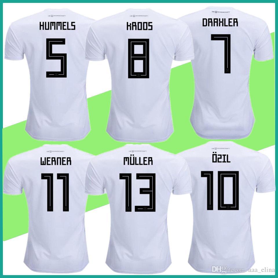 Compre Alemanha Camisa De Futebol Kroos Home Branco Neuer Ozil ... ecdf5d0d6a694