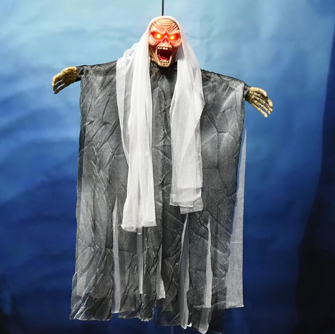 Halloween Hung Ghost Horror Voice Control Ghost/Skull Haunted House  Costumes Scary Ghost Eyes Can Make Sound Luminous Toy CCA10414 50pcs