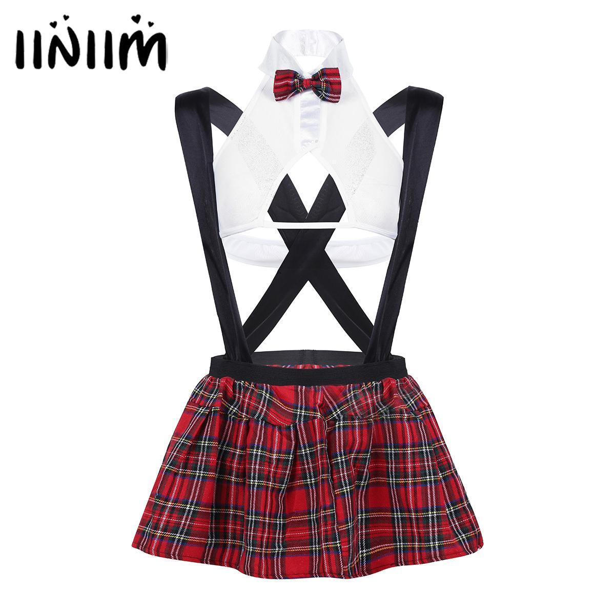 6c28969e63a464 Femmes School Girl Costumes Sexy Lingerie Voir à travers la tenue  Discothèque Cosplay Top avec jarretelle à carreaux Mini jupe G-string  C18111601