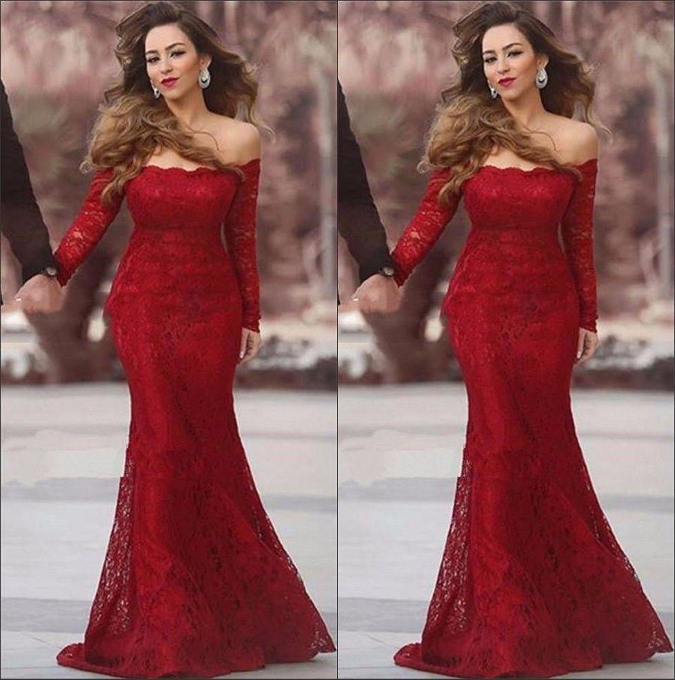 Elegant Arabic Red Lace Mermaid Long Evening Dresses Bateau Long ...