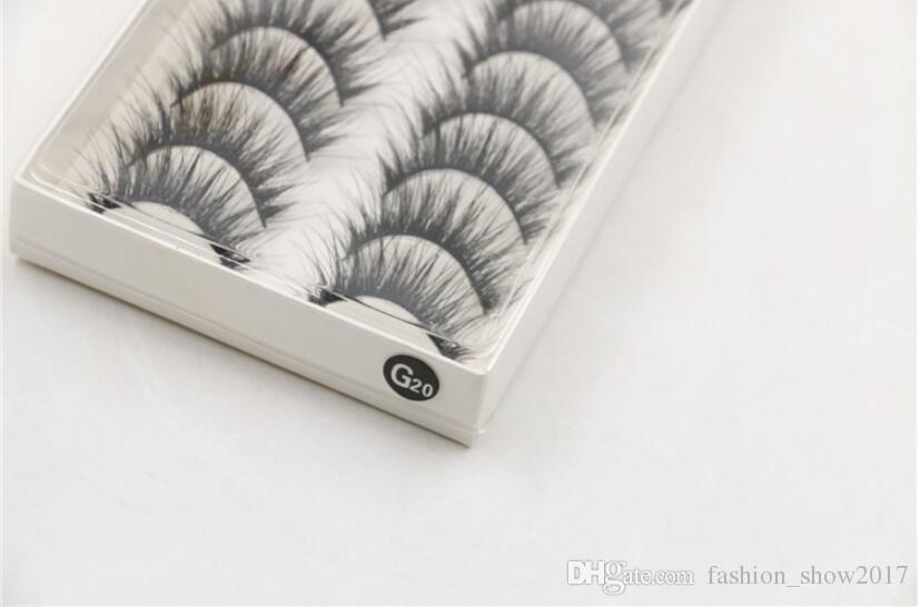 G20 Natural Long Thick Cross Party False Eyelashes Lashes Voluminous Black Band Handmade Fake Eye Lashes
