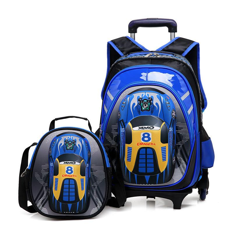 NEW Boys Students Trolley Case Travel Luggage 3D Cartoon Car 2 6 Wheels  Trolley School Bag Backpack For Boys Grade 1 5 Kids Suitcases Overnight Bags  From ... bc7e523f0d