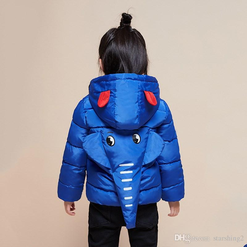 74deda2f888d Winter Children Boys Girls Jackets Cartoon Elephant Hooded Girls ...