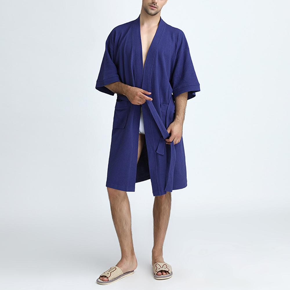 2018 Towel Bath Robe Dressing Gown Men Solid Cotton Waffle Sleep ...
