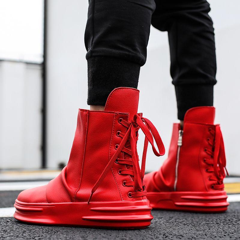 070842f6d67f Fashion Men Ankle Boots Autumn Kanye West Martin Boots Lace Up Dancing Hip  Hop Casual Shoes High Top Platform Sneakers Botas Black Combat Boots  Chelsea ...