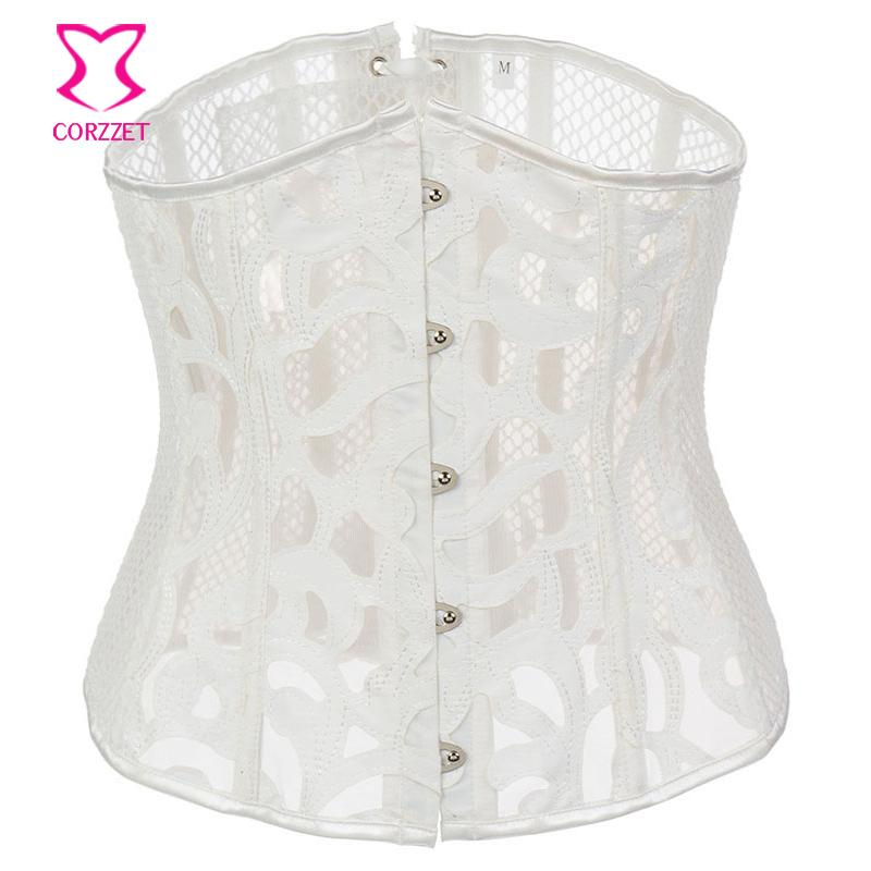 White Leather Fishnet Sexy Underbust Corset Gothic Waist Trainer Corsets Et Bustiers Steampunk Clothing Burlesque Costume Woman