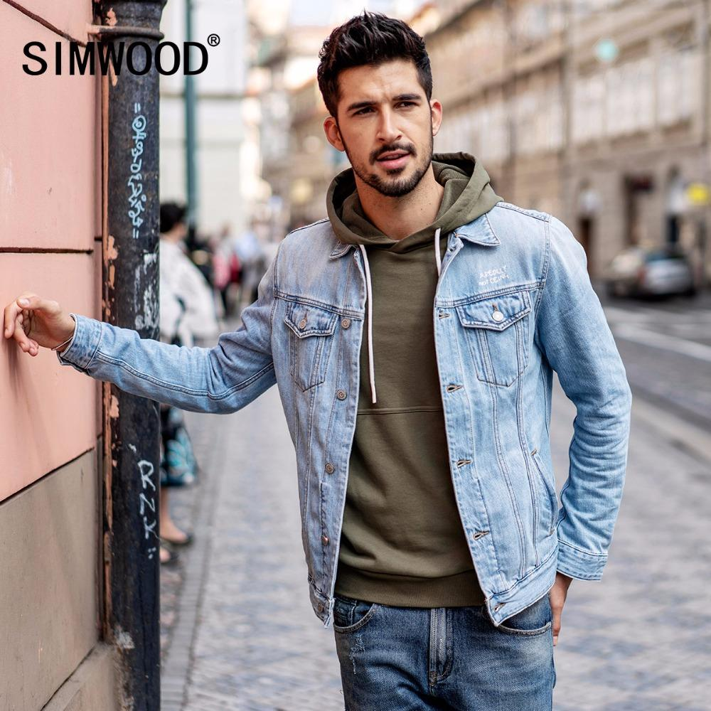 a94a300eeb SIMWOOD 2018 New Arrival Denim Jacket Men Fashion Slim Fit Cotton Brand  Clothing Vintage Outwear Male Plus Size Trucker 180090