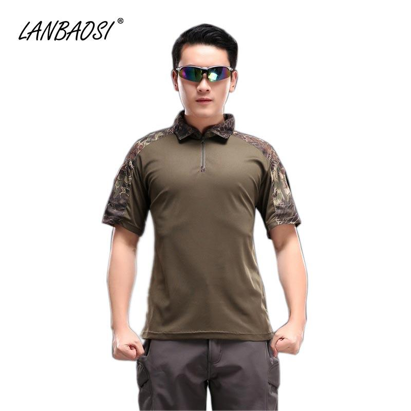 f53473fdf LANBAOSI Tactical Polo T-shirt for Men Short Sleeve Camo Combat T Shirt  Camouflage Army Outdoor Shirts T-shirt for Men Tactical Polo T-shirt Polo  Online ...