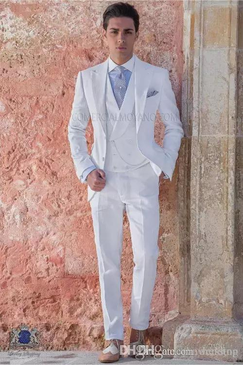 Acheter Personnalisé Slim Fit Blanc Hommes Costumes De Mariage Smokings 3  Pièces Veste + Pantalon + Gilet Meilleur Homme Blazer Prom Wear De  99.87  Du ... cc14b852be4