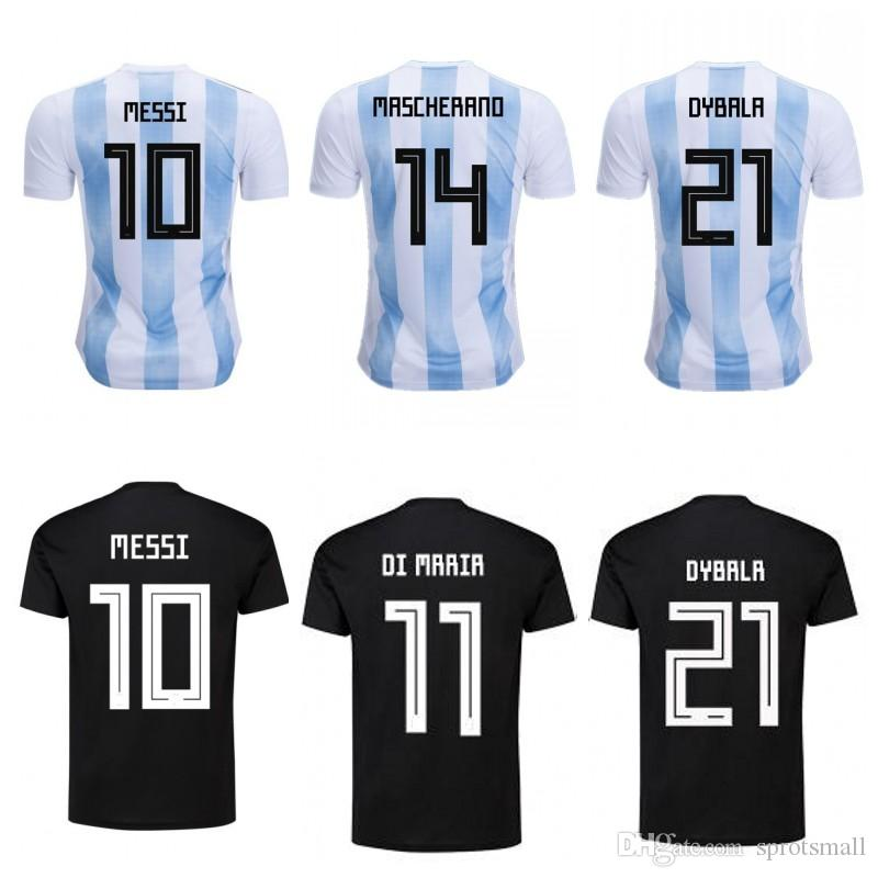 Compre   10 MESSI Casa Fora Camisas De Futebol   9 KUN AGUERO   11 DI MARIA Futebol  Uniforme Argentina Soccer Jersey De Sprotsmall f37ae37e9f471