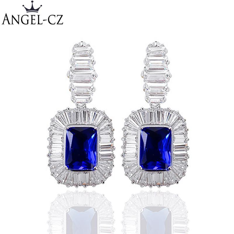 d15e21ae5eb8 2019 ANGELCZ Luxury Dark Blue Cubic Zircon Crystal Bridal Big Drop Earrings  For Women Elegant Royal Wedding Accessories Jewelry AE182 From Dagu003