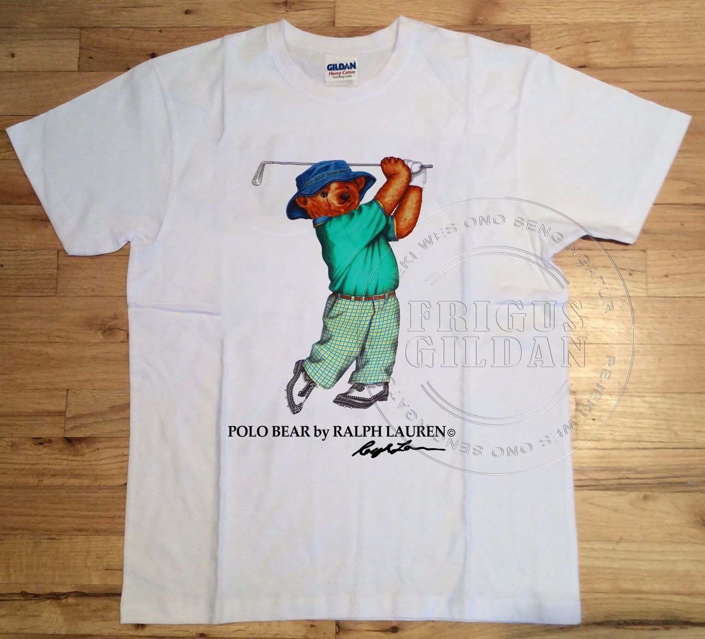 Vintage 90s Polo Sport Bear Golf White T Shirt Reprint Size Usa S